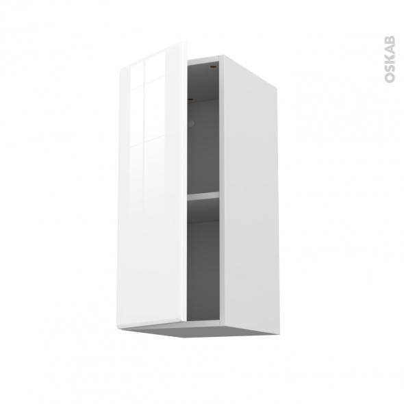 Meuble de cuisine - Haut ouvrant - IRIS Blanc - 1 porte - L30 x H70 x P37 cm