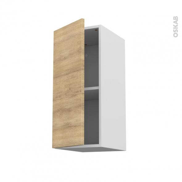 Meuble de cuisine - Haut ouvrant - HOSTA Chêne naturel - 1 porte - L30 x H70 x P37 cm