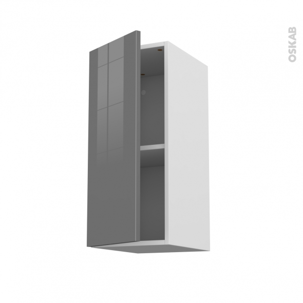 STECIA Gris - Meuble haut ouvrant H70  - 1 porte - L30xH70xP37