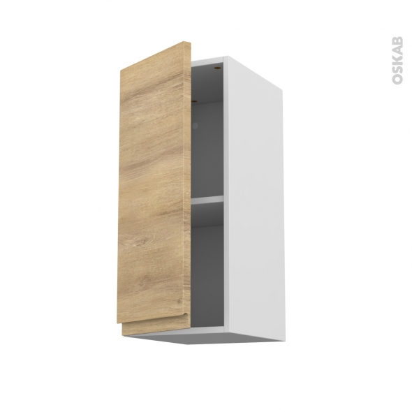 Meuble de cuisine - Haut ouvrant - IPOMA Chêne naturel - 1 porte - L30 x H70 x P37 cm