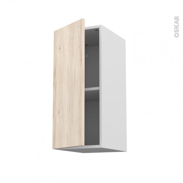 Meuble de cuisine - Haut ouvrant - IKORO Chêne clair - 1 porte - L30 x H70 x P37 cm