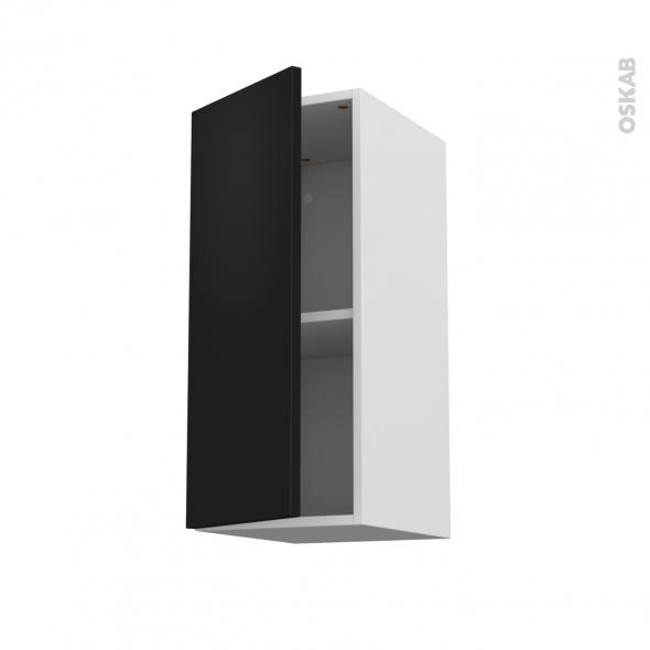 Meuble de cuisine - Haut ouvrant - GINKO Noir - 1 porte - L30 x H70 x P37 cm