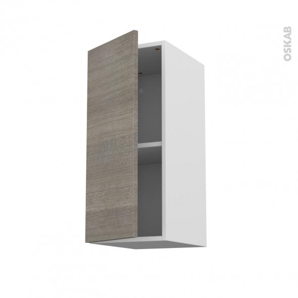 Meuble de cuisine - Haut ouvrant - STILO Noyer Naturel - 1 porte - L30 x H70 x P37 cm