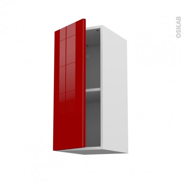 Meuble de cuisine - Haut ouvrant - STECIA Rouge - 1 porte - L30 x H70 x P37 cm