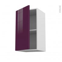 Meuble de cuisine - Haut ouvrant - KERIA Aubergine - 1 porte - L40 x H70 x P37 cm
