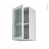 SOKLEO - Meuble haut ouvrant H70  - Façade blanche alu vitrée - 1 porte - L40xH70xP37