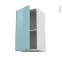 Meuble de cuisine - Haut ouvrant - KERIA Bleu - 1 porte - L40 x H70 x P37 cm