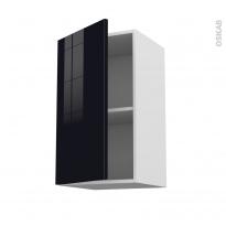 Meuble de cuisine - Haut ouvrant - KERIA Noir - 1 porte - L40 x H70 x P37 cm
