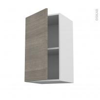 Meuble de cuisine - Haut ouvrant - STILO Noyer Naturel - 1 porte - L40 x H70 x P37 cm