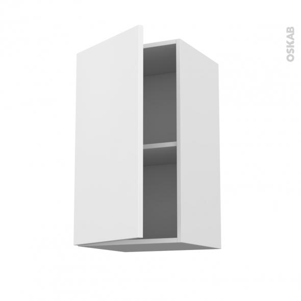 Meuble de cuisine - Haut ouvrant - GINKO Blanc - 1 porte - L40 x H70 x P37 cm