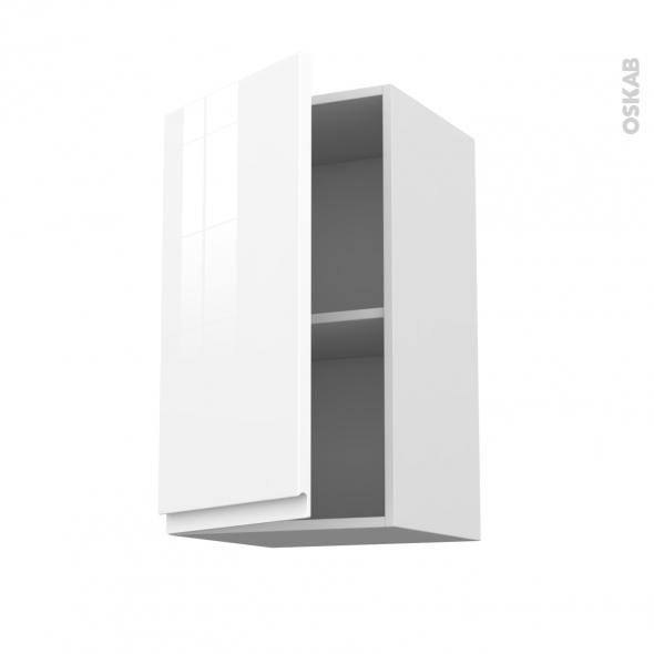 Meuble de cuisine - Haut ouvrant - IPOMA Blanc brillant - 1 porte - L40 x H70 x P37 cm