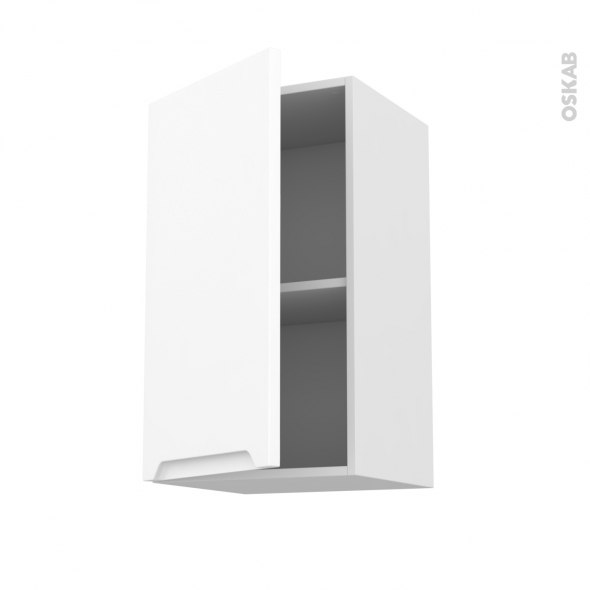 Meuble de cuisine - Haut ouvrant - PIMA Blanc - 1 porte - L40 x H70 x P37 cm
