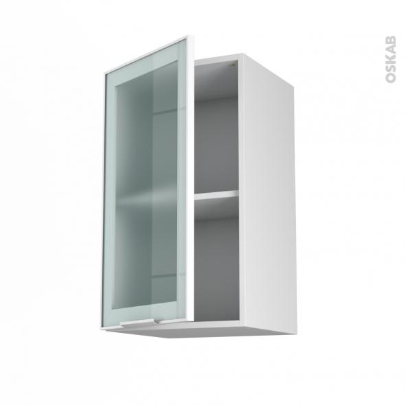 Meuble de cuisine - Haut ouvrant vitré - Façade blanche alu - 1 porte - L40 x H70 x P37 cm - SOKLEO
