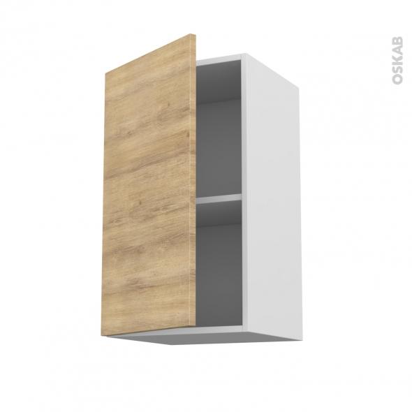 Meuble de cuisine - Haut ouvrant - HOSTA Chêne naturel - 1 porte - L40 x H70 x P37 cm