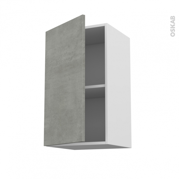 Meuble de cuisine - Haut ouvrant - FAKTO Béton - 1 porte - L40 x H70 x P37 cm