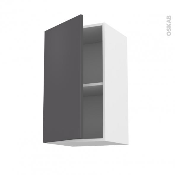 Meuble de cuisine - Haut ouvrant - GINKO Gris - 1 porte - L40 x H70 x P37 cm