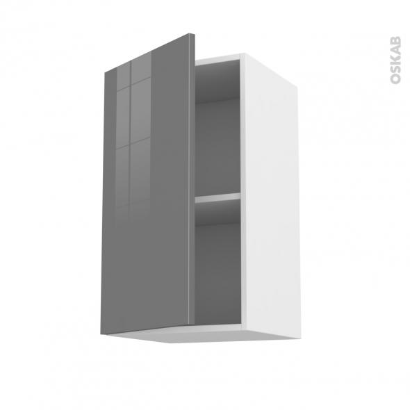Meuble de cuisine - Haut ouvrant - STECIA Gris - 1 porte - L40 x H70 x P37 cm
