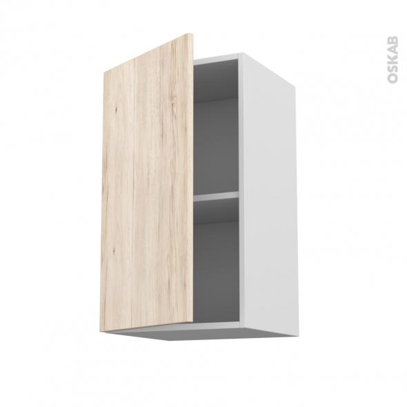 Meuble de cuisine - Haut ouvrant - IKORO Chêne clair - 1 porte - L40 x H70 x P37 cm