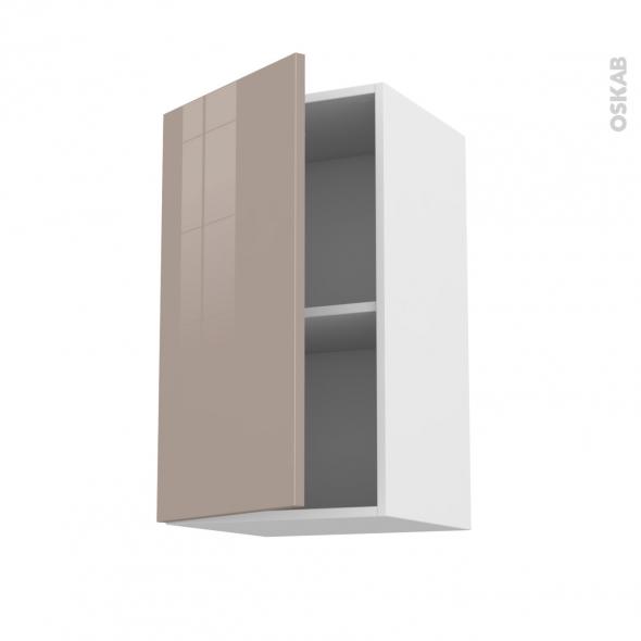 Meuble de cuisine - Haut ouvrant - KERIA Moka - 1 porte - L40 x H70 x P37 cm