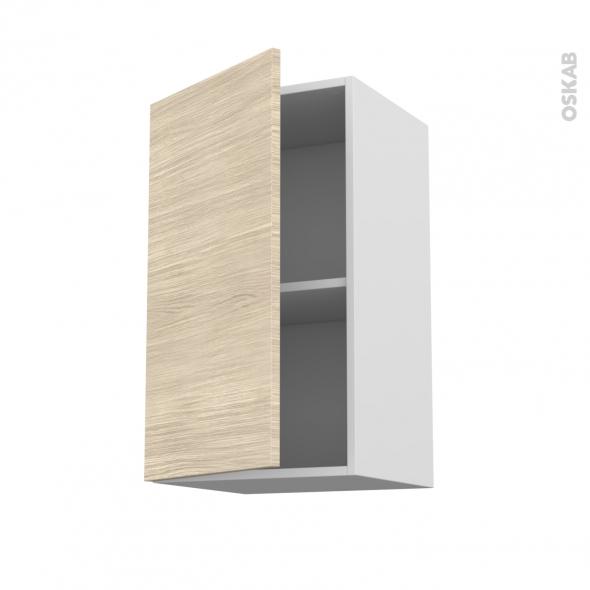 Meuble de cuisine - Haut ouvrant - STILO Noyer Blanchi - 1 porte - L40 x H70 x P37 cm