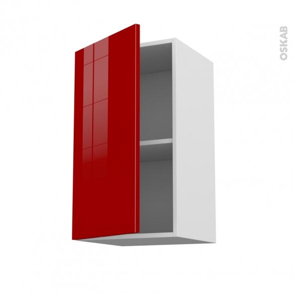 Meuble de cuisine - Haut ouvrant - STECIA Rouge - 1 porte - L40 x H70 x P37 cm