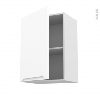 Meuble de cuisine - Haut ouvrant - PIMA Blanc - 1 porte - L50 x H70 x P37 cm