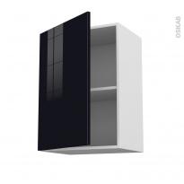 Meuble de cuisine - Haut ouvrant - KERIA Noir - 1 porte - L50 x H70 x P37 cm