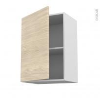 Meuble de cuisine - Haut ouvrant - STILO Noyer Blanchi - 1 porte - L50 x H70 x P37 cm