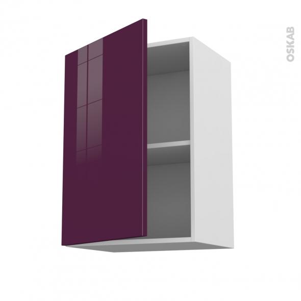 Meuble de cuisine - Haut ouvrant - KERIA Aubergine - 1 porte - L50 x H70 x P37 cm