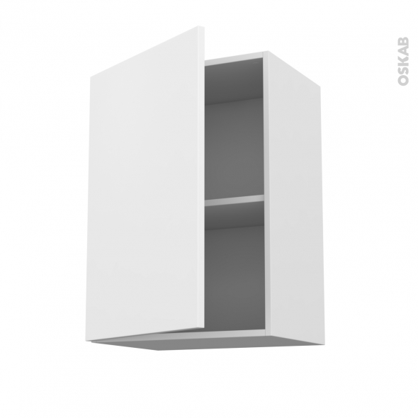 GINKO Blanc - Meuble haut ouvrant H70  - 1 porte - L50xH70xP37