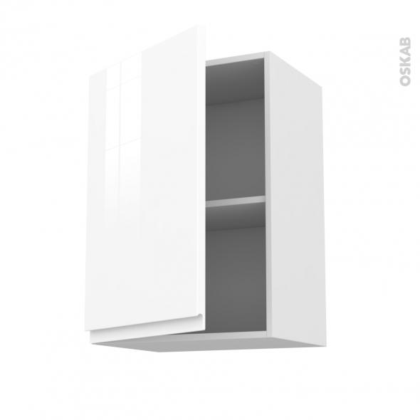 Meuble de cuisine - Haut ouvrant - IPOMA Blanc - 1 porte - L50 x H70 x P37 cm