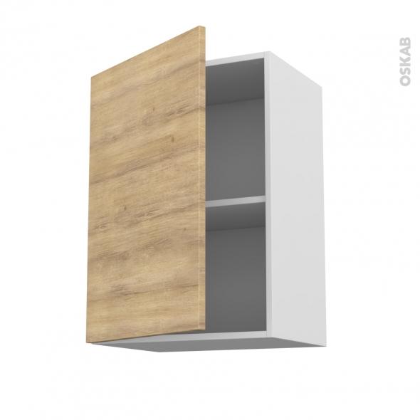 Meuble de cuisine - Haut ouvrant - HOSTA Chêne naturel - 1 porte - L50 x H70 x P37 cm