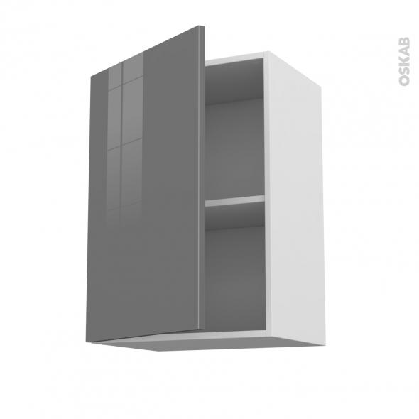 STECIA Gris - Meuble haut ouvrant H70  - 1 porte - L50xH70xP37