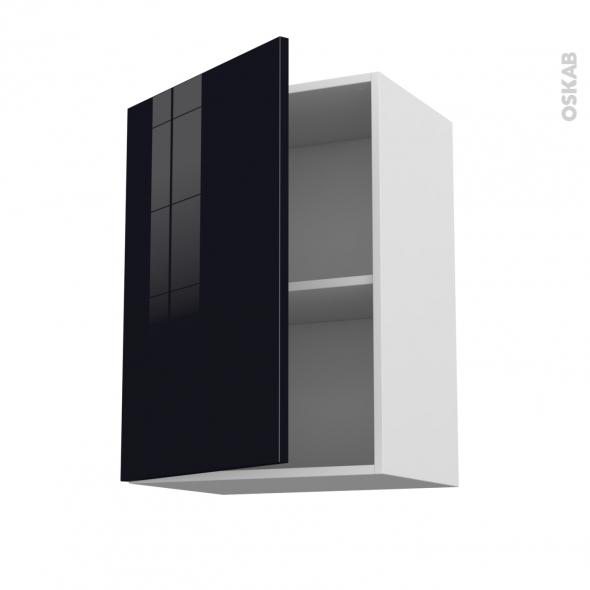 KERIA Noir - Meuble haut ouvrant H70  - 1 porte - L50xH70xP37