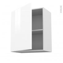 Meuble de cuisine - Haut ouvrant - IRIS Blanc - 1 porte - L60 x H70 x P37 cm
