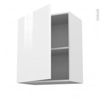 Meuble de cuisine - Haut ouvrant - STECIA Blanc - 1 porte - L60 x H70 x P37 cm