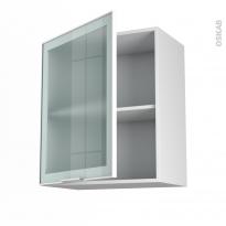 SOKLEO - Meuble haut ouvrant H70  - Façade blanche alu vitrée - 1 porte - L60xH70xP37