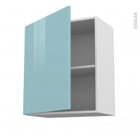 Meuble de cuisine - Haut ouvrant - KERIA Bleu - 1 porte - L60 x H70 x P37 cm