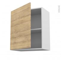 Meuble de cuisine - Haut ouvrant - HOSTA Chêne naturel - 1 porte - L60 x H70 x P37 cm