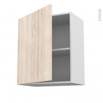 Meuble de cuisine - Haut ouvrant - IKORO Chêne clair - 1 porte - L60 x H70 x P37 cm