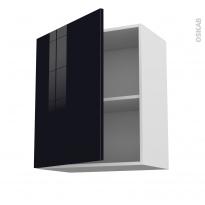 Meuble de cuisine - Haut ouvrant - KERIA Noir - 1 porte - L60 x H70 x P37 cm