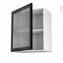SOKLEO - Meuble haut ouvrant H70  - Façade noire alu vitrée - 1 porte - L60xH70xP37