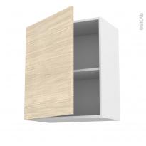 Meuble de cuisine - Haut ouvrant - STILO Noyer Blanchi - 1 porte - L60 x H70 x P37 cm