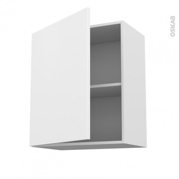 Meuble de cuisine - Haut ouvrant - GINKO Blanc - 1 porte - L60 x H70 x P37 cm