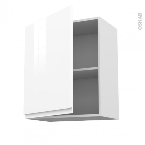 Meuble de cuisine - Sur hotte - Pour hotte encastrable - Haut ouvrant - IPOMA Blanc brillant - 1 porte - L60 x H70 x P37 cm