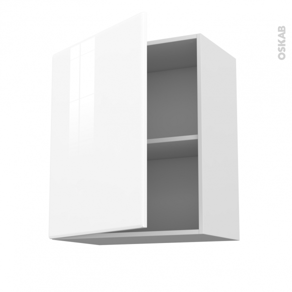 Meuble de cuisine - Sur hotte - Pour hotte encastrable - Haut ouvrant - IRIS Blanc - 1 porte - L60 x H70 x P37 cm