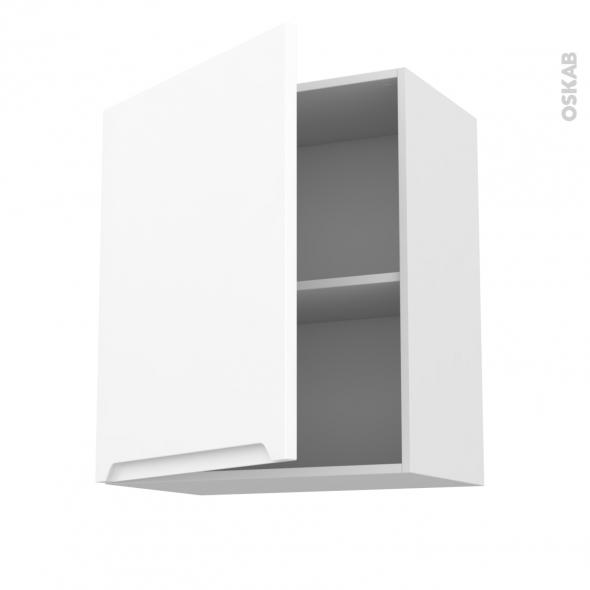 PIMA Blanc - Meuble haut ouvrant H70  - 1 porte - L60xH70xP37