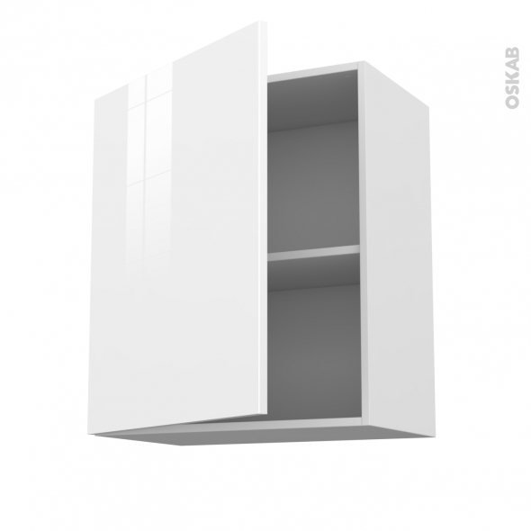 STECIA Blanc - Meuble haut ouvrant H70  - 1 porte - L60xH70xP37
