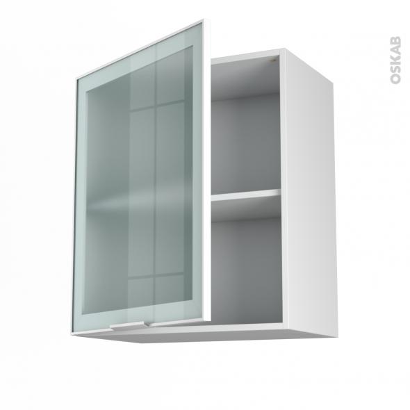 meuble de cuisine haut ouvrant vitré façade blanche alu 1 porte ... - Meuble Haut Cuisine Vitre
