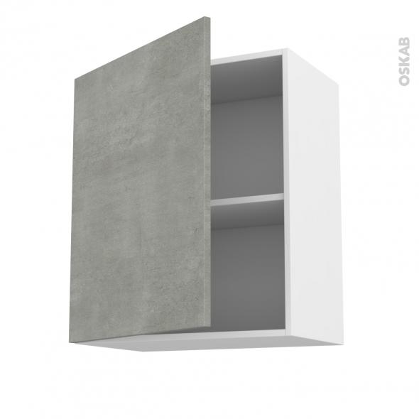 Meuble de cuisine - Haut ouvrant - FAKTO Béton - 1 porte - L60 x H70 x P37 cm